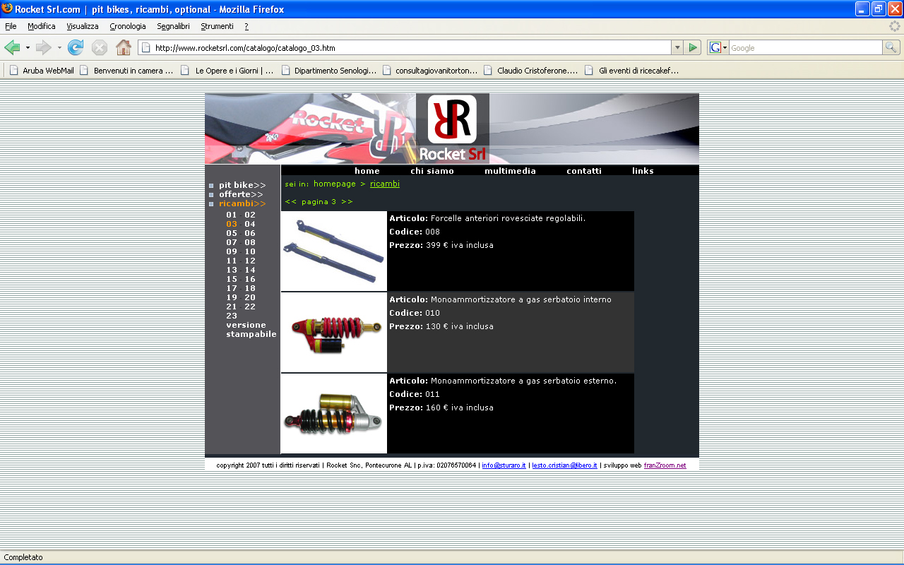 <em>Rocket srl</em> website
