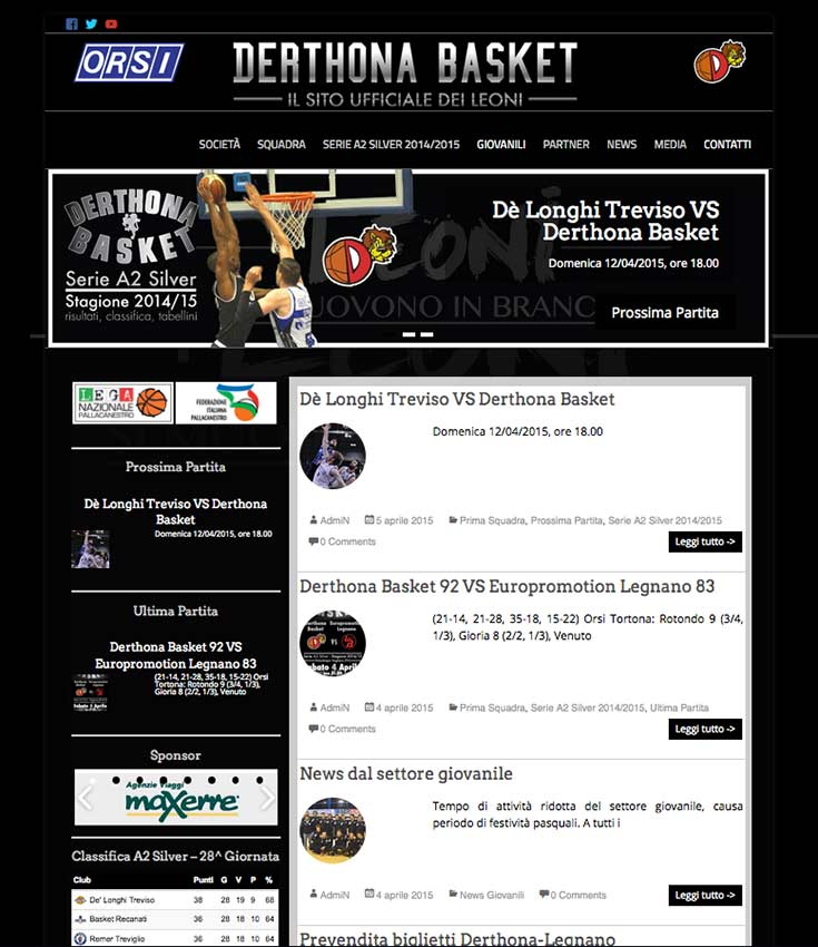 Derthona Basket - website 2014-15 by Andrea Franzosi, franzRoom.net