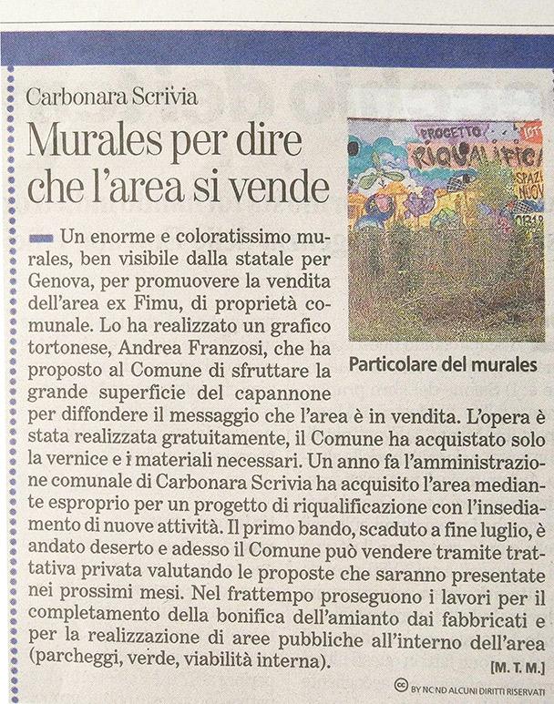 articolo La Stampa - Murale Ex Fonderia Castelli - Andrea Franzosi, franzRoom.net