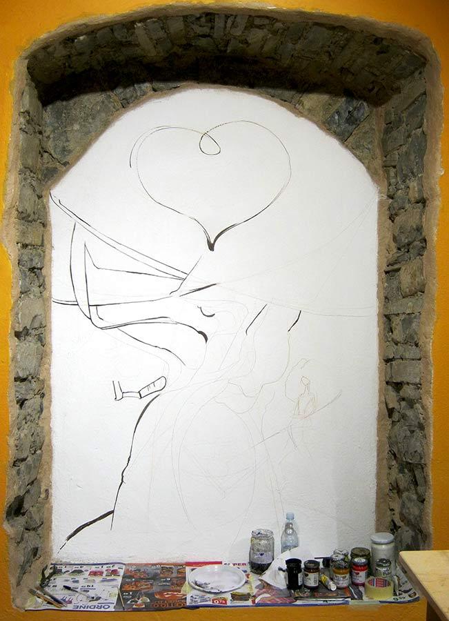 Decorazione Murale, l'Albero del Pane, avanzamento - Andrea Franzosi, franzRoom.net