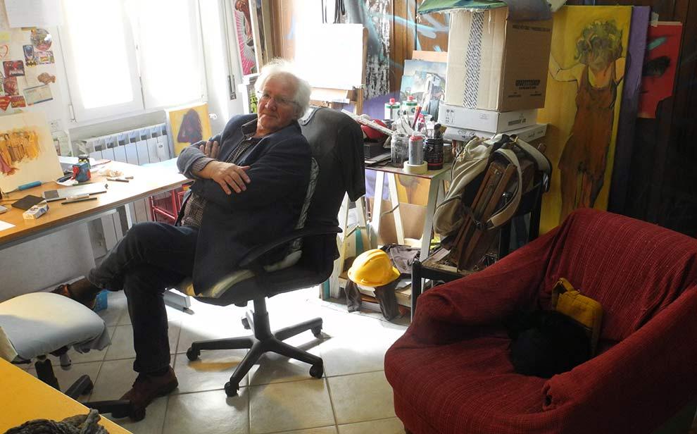 Angelo Lumelli, Cliente Poeta, con la Gatta PaolO (cit. Nori) nella franzRoom, 2017