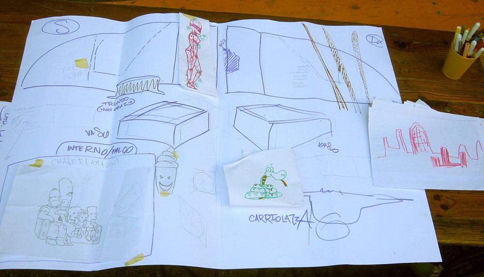 Laboratorio Fumetti a Spray per La Fenice APS, bozzetti di gruppo - franZroom.net
