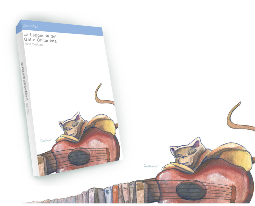 cover La Leggenda del Gatto Chitarrista, illustrazione di Andrea Franzosi - franzroom.net