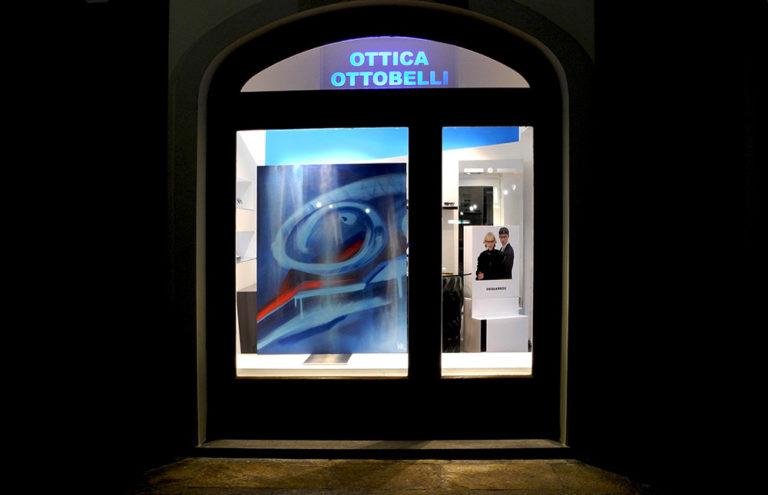 Decorazioni a spray - pannelli per vetrine, Ottica Ottobelli - Andrea Franzosi, franZroom.net