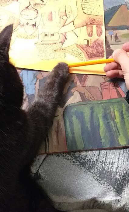 PaolO aiuta a disegnare gli Spaesamenti da CalendariO 2020, disegni in corsO - Andrea FranZosi, franZroom.net