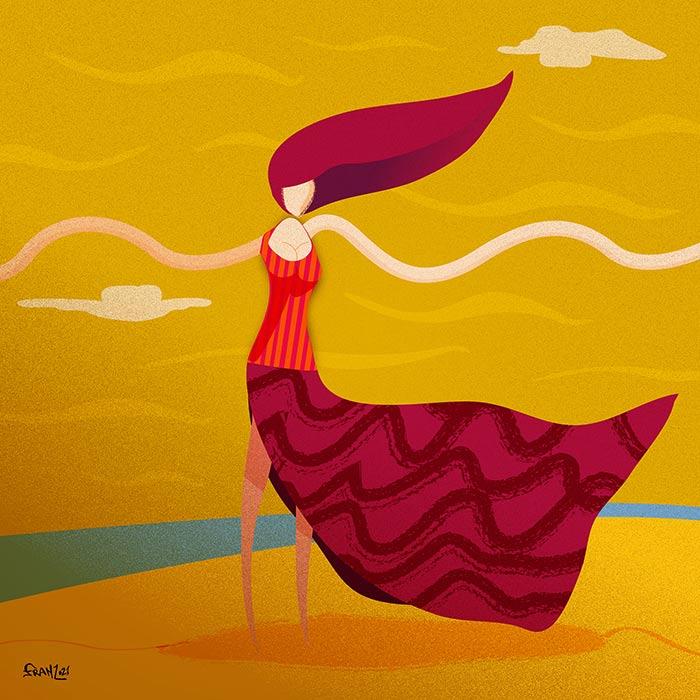 Balla nel Vento d'Estate - illustrazione vettoriale, Andrea FranZosi - franZroom.net