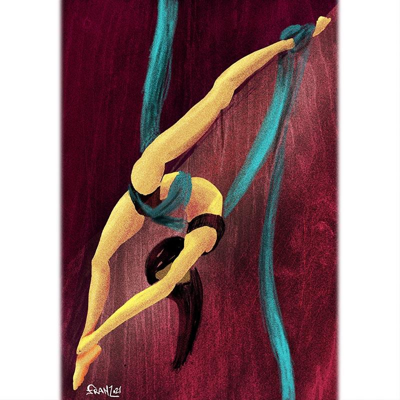 Flecss - Aerial Silks illustrations - Andrea FranZosi franZroom.net