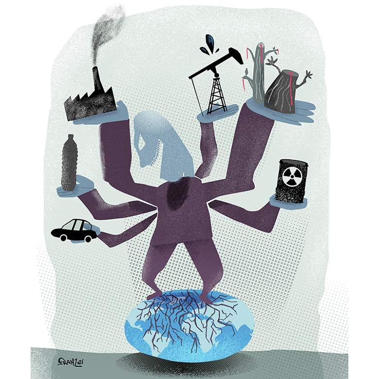 OverLoad - Earth Day illustration, Andrea FranZosi franZroom.net